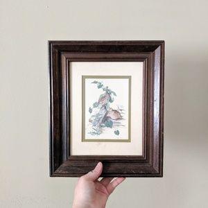 Other - Vintage Wooden Framed Quail Bird Photo